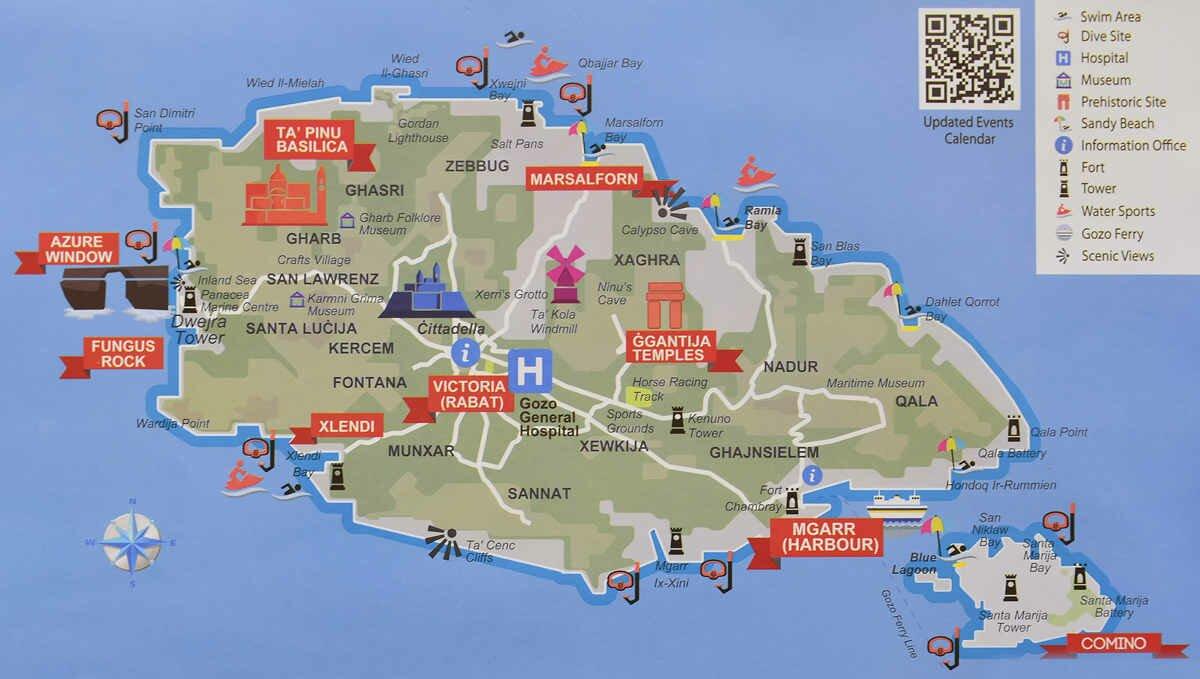 Гозо, маленький мальтийский остров_карта
