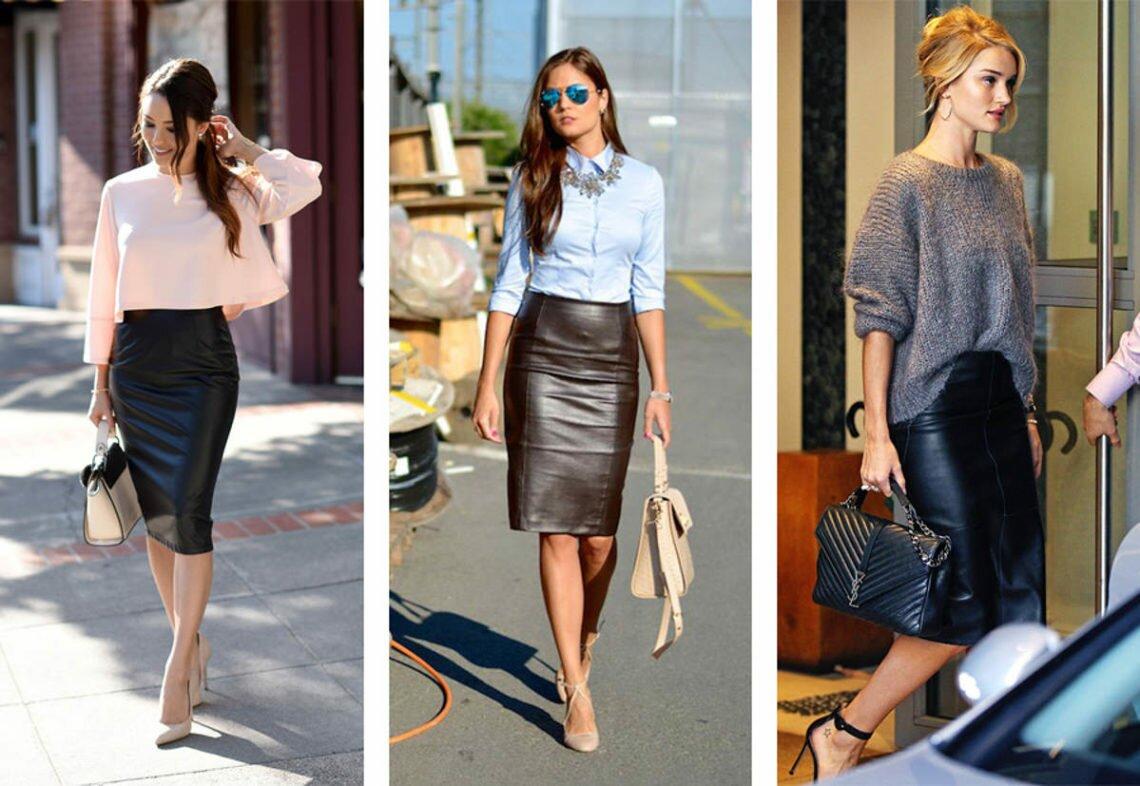 С чем носить кожаную юбку — колготки с принтом